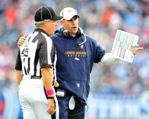 Josh McDaniels might already be complaining to an official about how dirty Tennessee apparently was in Sunday's game (Getty).