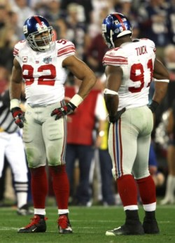 J. Tuck (right) didn't take kindly to Michael Strahan's comments (Getty).