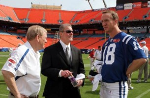 P. Manning, seen here with Indianapolis GM Bill Polian (left) and owner Jim Irsay, is done talking about a new contract until after the season (Getty).