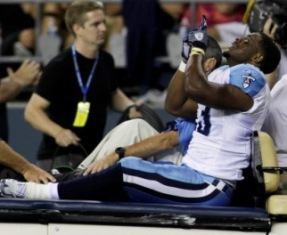 S. Johnson says he'll be back next season after suffering gruesome leg injuries (AP).