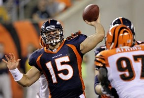 T. Tebow still has work to do on his throwing mechanics (AP).