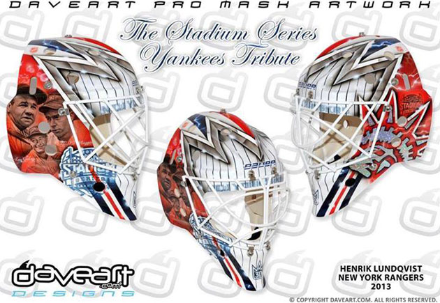 Lundqvist's mask pays homage to the Yankees. (DaveArt.com)