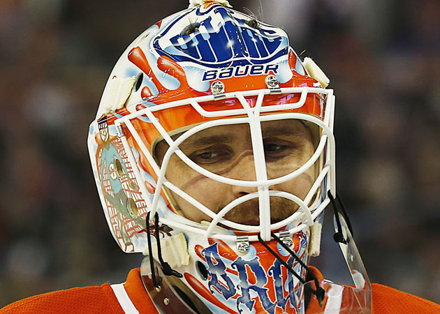 Bryzgalov debuted his new mask on Sunday night. (USATSI)