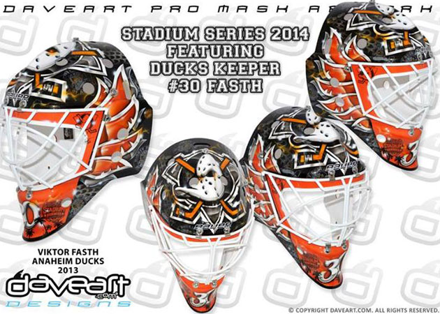 Fasth's mask for the Stadium Series game in LA. (DaveArt.com)