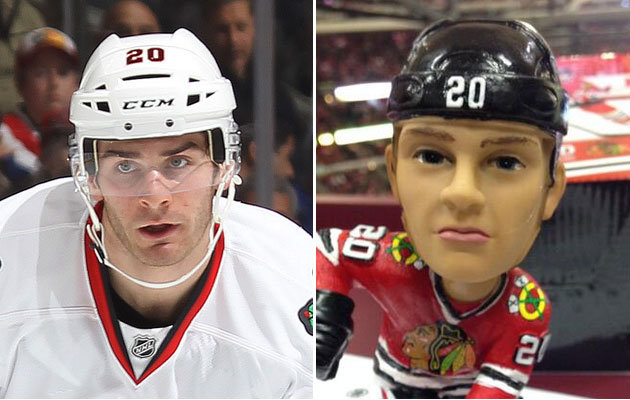 Real Brandon vs. Bobblehead Brandon. (@NinaFalcone/Getty Images)