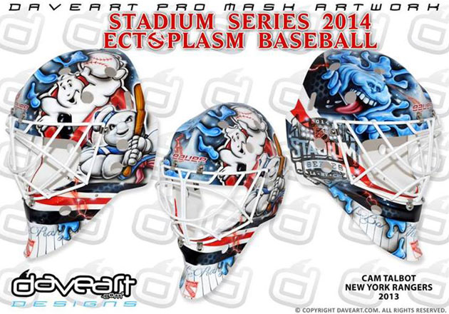 Talbot's Ghostbusters mask takes on a baseball theme. (DaveArt.com)