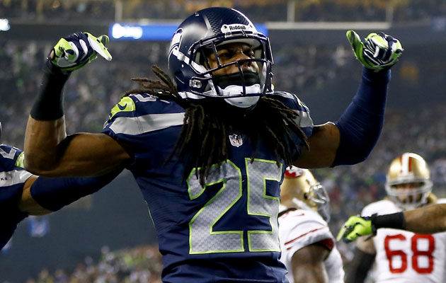 Sherman is pretty good at football but hockey? (Getty Images)