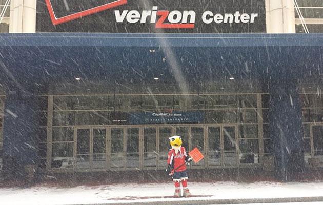 The Caps mascot shovels around Verizon Center. (Facebook)