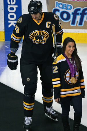 Ceremonial Puck Drop Leafs Start In Space Aly Raisman And Zdeno Chara Cbssports Com