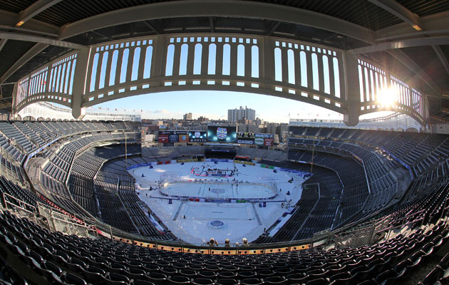 The shining sun results in a delay for the game at Yankee Stadium. (Getty Images)