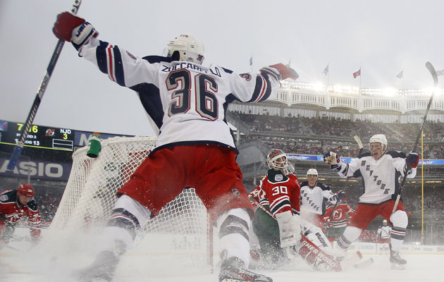 Zuccarello celebrates one of his two goals at Yankee Stadium. (Getty Images)