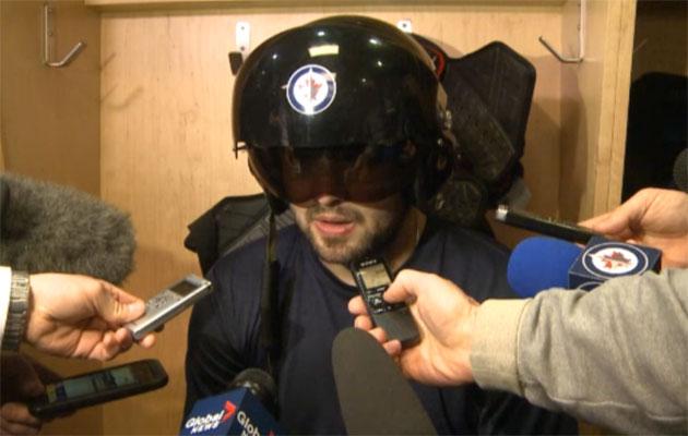 Setoguchi was the first Winnipeg player to sport the fighther pilot helmet. (Screen grab)