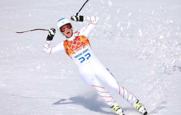 Mancuso finished the downhill portion with a near half-minute lead. (Getty Images)