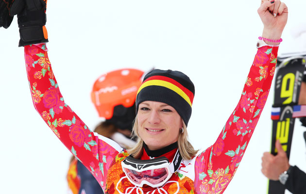 Riesch had a great slalom run to win the gold again. (Getty Images)