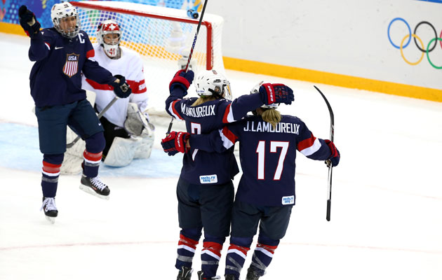 The Lamoureux twins get the scoring started. (Getty Images)