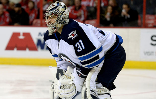 Pavelec has struggled this season in Winnipeg. (Getty Images)
