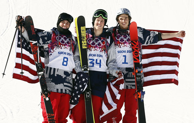 Joss Christensen flanked by Gus Kenworthy and Nicholas Goepper. (USATSI)