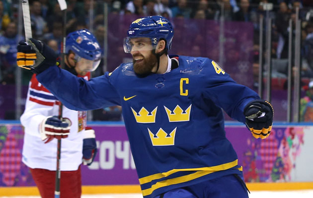 Henrik Zetterberg scored one of Sweden's four goals Wednesday. (Getty Images)