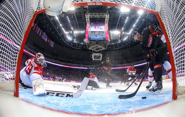 Jeff Carter taps in one of this three goals against Austria. (Getty Images)