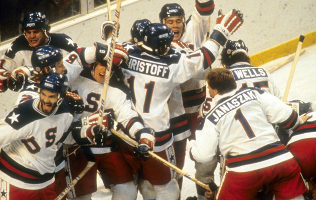 The Miracle on Ice; 1980 Team USA's iconic white jerseys. (Getty Images)