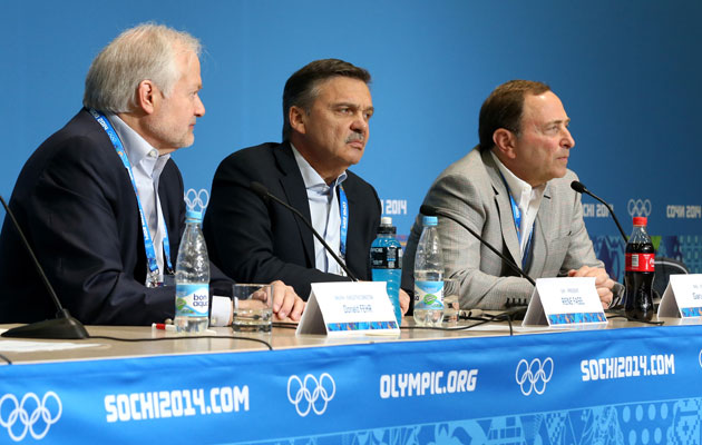 Gary Bettman, Rene Fasel and Donald Fehr in Sochi. (Getty Images)