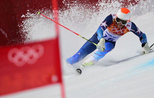 Bode Miller was a little dinged up in the first Giant Slalom run. (Getty Images)
