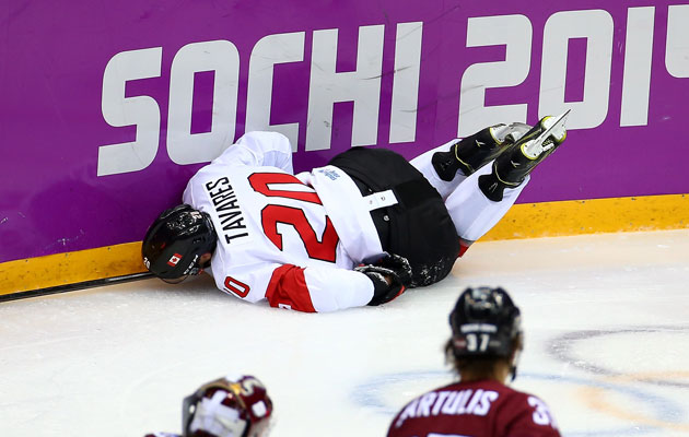 John Tavares was injured in the second period against Latvia. (Getty Images)