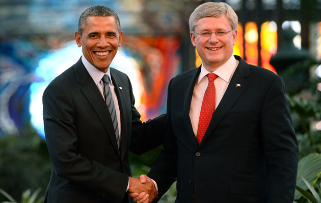 Barack Obama and Stephen Harper will wager beer on hockey. (Getty Images)