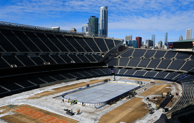 The rink goes up at Soldier Field. (Getty Images)