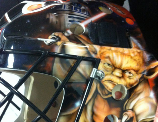 Probably not with Yoda and R2D2 on the mask as well. (@NHLFlyers)