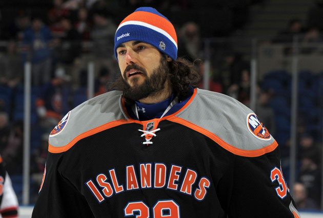 Rick DiPietro gave up five goals on 12 shots in his first game since being sent down. (Getty Images)