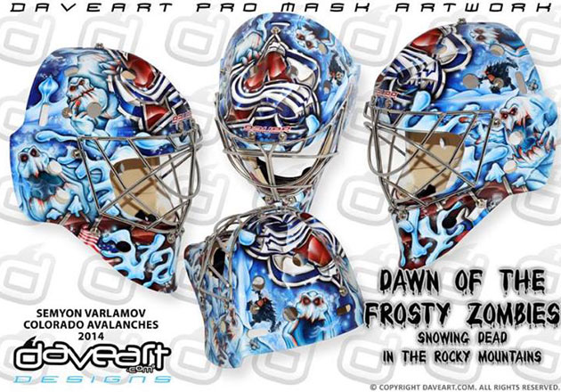 Semyon Varlamov's mask now complete with zombies. (DaveArt/Facebook)