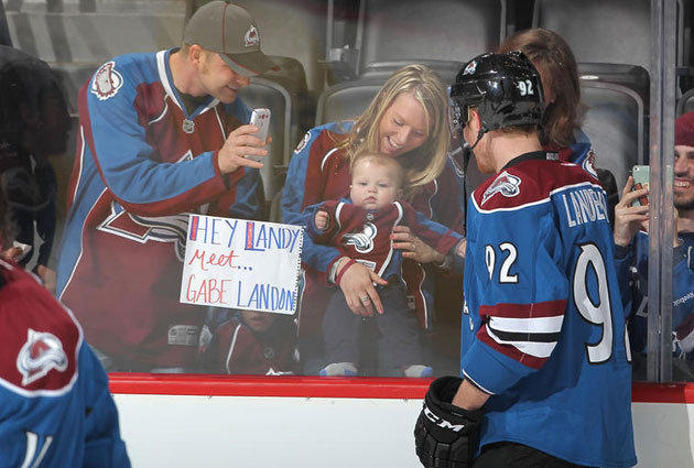 Landeskog meets little Gabe Landon on Sunday. (Getty Images)