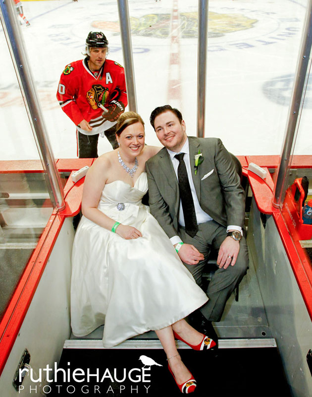 Patrick Sharp sneaks up on the unsuspecting newlyweds. (Ruthie Hauge Photography)