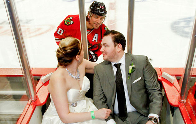 Patrick Sharp makes one of the best wedding photos ever. (Ruthie Hauge Photography)