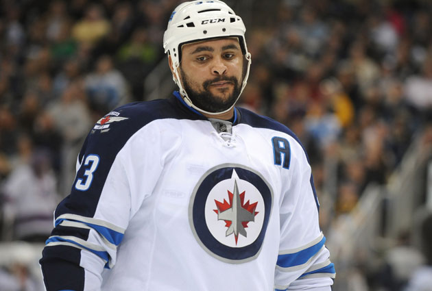 Byfuglien was pretty adept in front of the net for the Hawks. (Getty Images)
