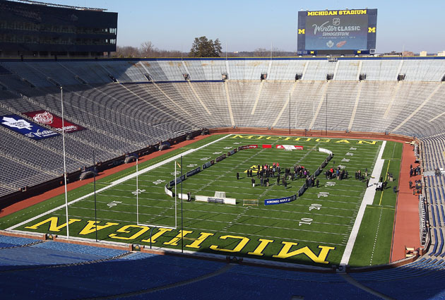 The scene at last year's announcement for the Winter Classic in Michigan Stadium. (Getty Images)