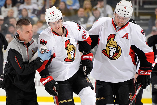 Karlsson was injured in a game on Feb. 13, less than two months ago. (Getty Images)