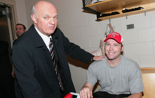Martin Brodeur and Lou Lamoriello don't see eye to eye on this one. (Getty Images)