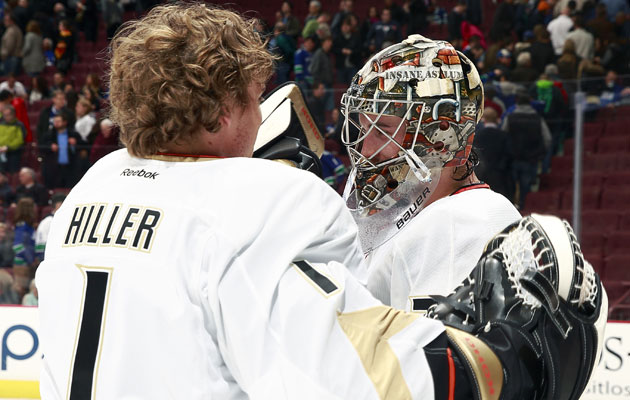 John Gibson or Jonas Hiller? That is the question. (Getty Images)