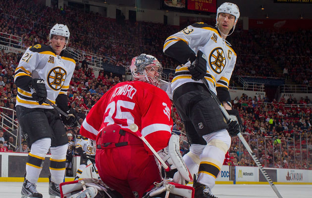 The B's and Wings meet in the postseason for the first time since 1957. (Getty Images)
