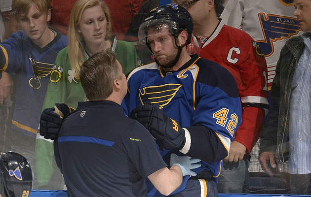David Backes was unable to finish Game 2. (Getty Images)