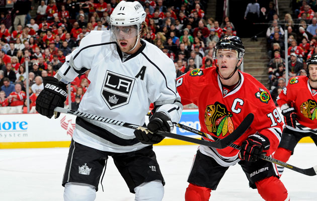 Anze Kopitar and Jonathan Toews are each Selke finalists. (Getty Images)
