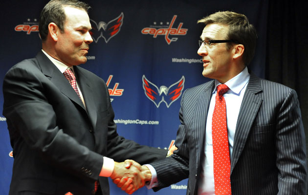 Adam Oates and George McPhee are both out in Washington. (Getty Images)