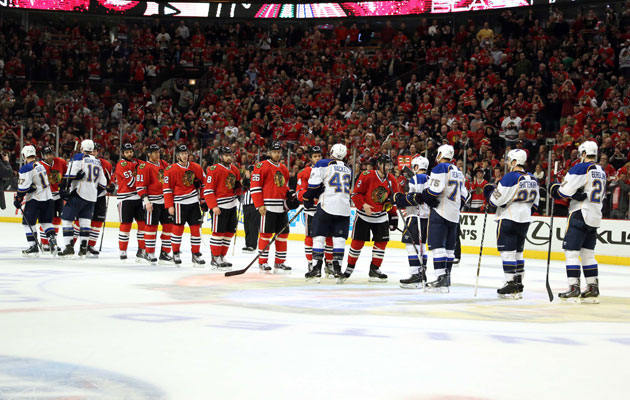The Blues are out at the hands of the Blackhawks. (Getty Images)