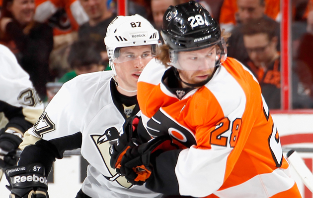 Sidney Crosby and Claude Giroux are two of the three Hart finalists. (Getty Images)