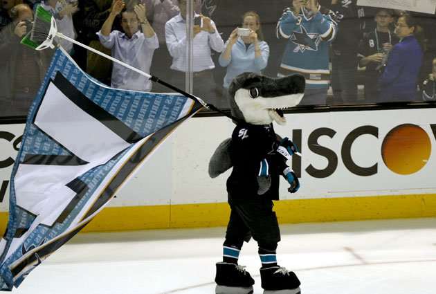 Sharkie celebrates the sweep. (USATSI)