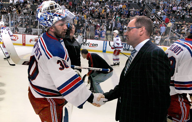 Henrik Lundqvist helps end Dan Bylsma's season. (Getty Images)