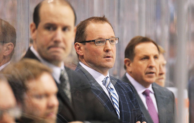 Dan Bylsma (center) is on very thin ice. (Getty Images)