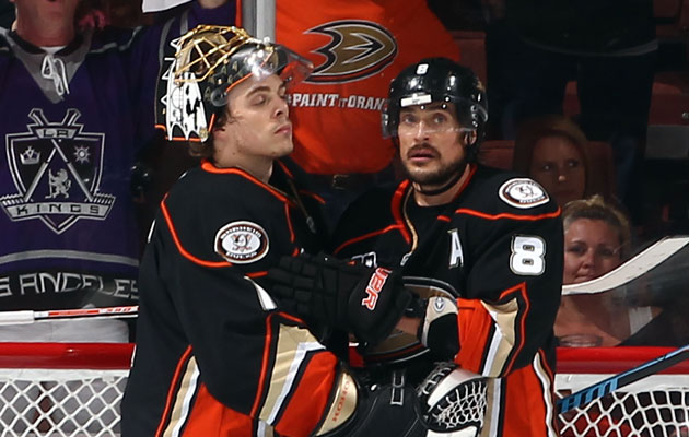 Jonas Hiller and Teemu Selanne both appear to be done in Anaheim. (Getty Images)